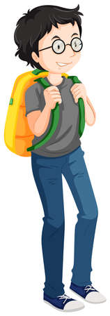 backpack: Man with yellow backpack illustration