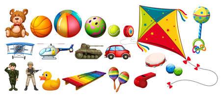 Set of many colorful toys illustration
