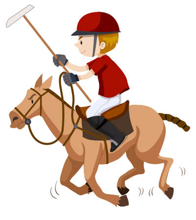 polo player: Polo player riding on horse illustration