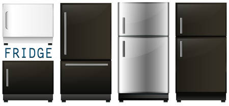 storage device: Set of refrigerators in different designs illustration