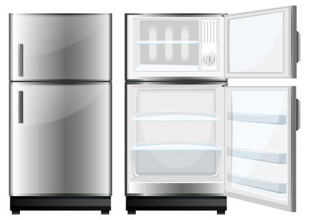 storage device: Refridgerator with closed and opened door illustration