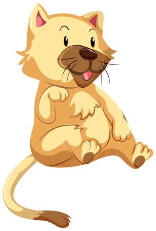 fur: Cute cat with brown fur illustration Illustration