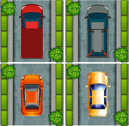 cars parking: Trucks and cars parking on the road illustration