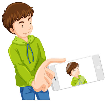taking picture: Man taking picture with phone illustration Illustration