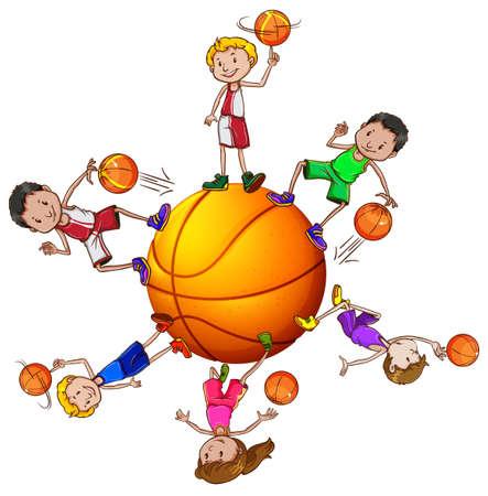 baloncesto chica: Niños y niñas jugando baloncesto ilustración