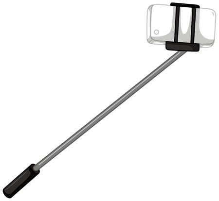 cellphone: Selfie stick with cellphone illustration