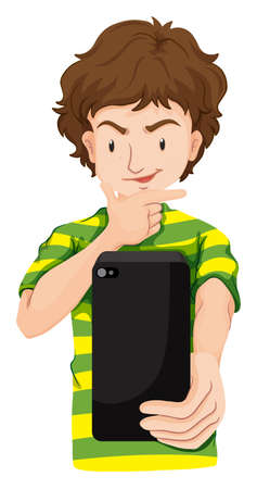 taking picture: Man taking picture with cellphone illustration