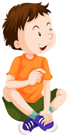 kid smile: Boy in orange shirt sitting illustration