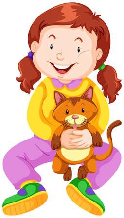pet cat: Little girl with pet cat illustration