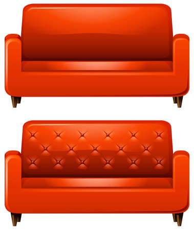 red sofa: Sofa with red leather illustration