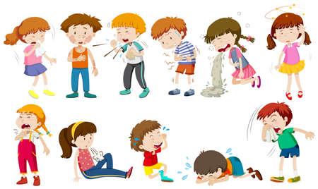 Les garçons et les filles étant illustration malade