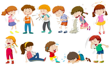 Boys and girls being sick illustration