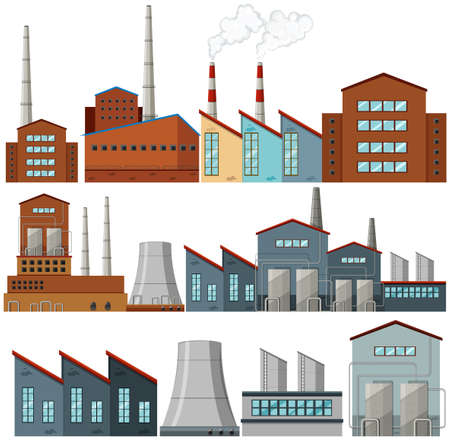 clipart chimney: Set of factory buildings illustration