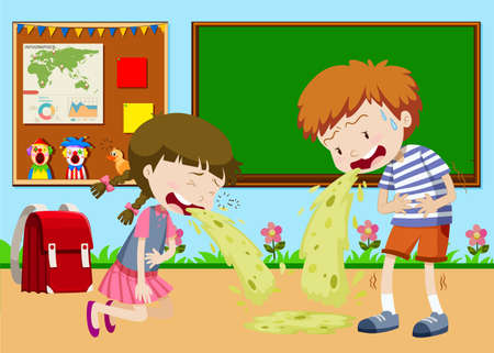 Boy and girl vomitting in classroom illustration