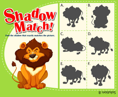 assignments: Game template with matching lion illustration Illustration
