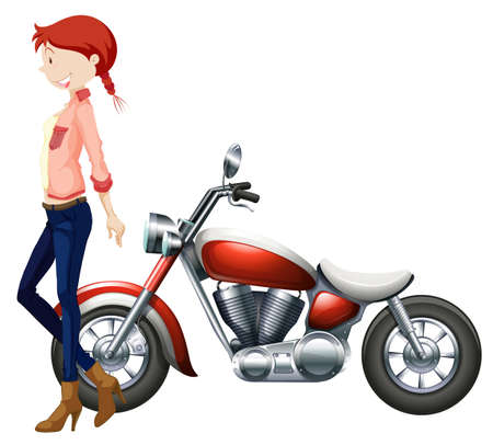 motocycle: Woman and vintage motocycle illustration