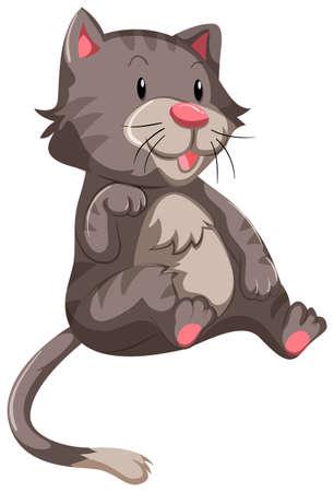 fur: Cute cat with gray fur illustration