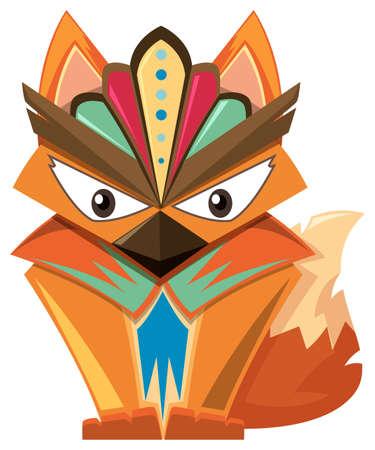 wooden mask: Wooden craft shape of fox illustration Illustration