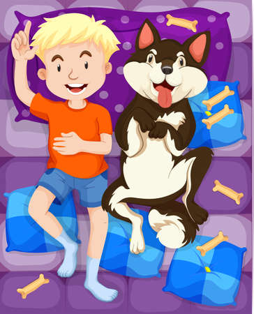 dog sleeping: Boy sleeping with dog in bed illustration