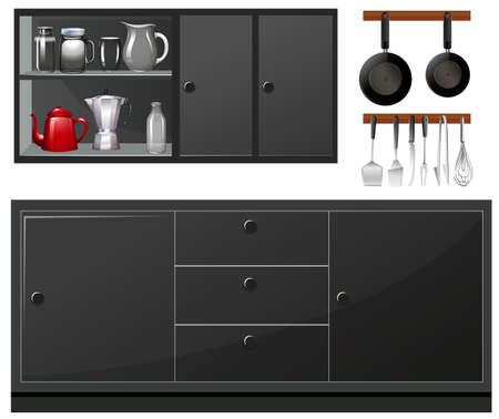 Küchengeräte in der schwarzen Farbe Illustration Vektorgrafik