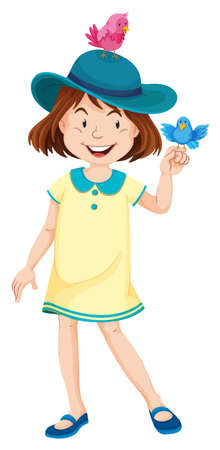 yellow dress: Little girl in yellow dress and blue hat illustration Illustration