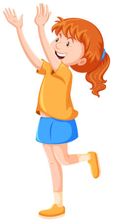 red hair: Little girl with red hair illustration
