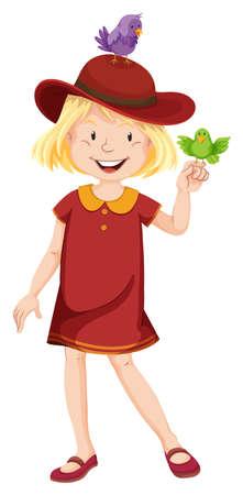 little girl dress: Little girl in red dress and hat illustration Illustration