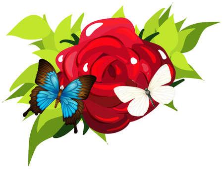 mariposas volando: Butterflies flying around the rose illustration