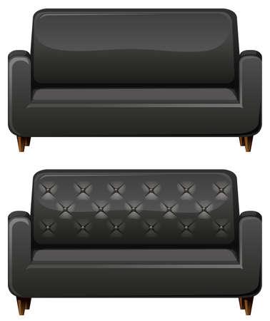 black leather: Sofa with black leather illustration