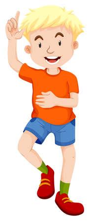 child drawing: Little boy in orange shirt pointing illustration Illustration