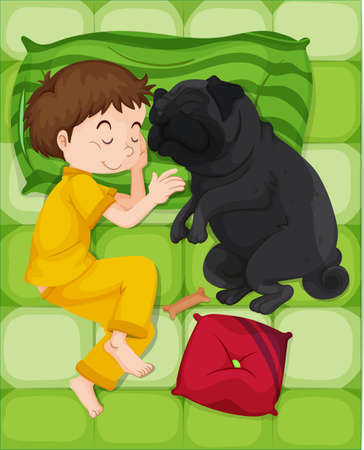 dog sleeping: Boy in yellow pajamas sleeping with dog illustration