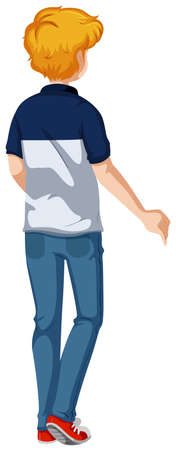 man standing alone: Back of man wearing jeans illustration Illustration