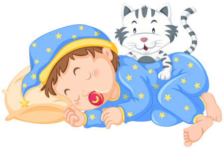 Boy sleeping with little cat illustration Illustration
