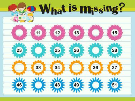 matematica: plantillas de juego con números que faltan ilustración Vectores