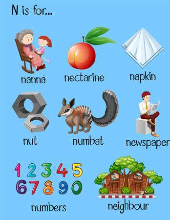 parole diverse per la lettera N illustrazione
