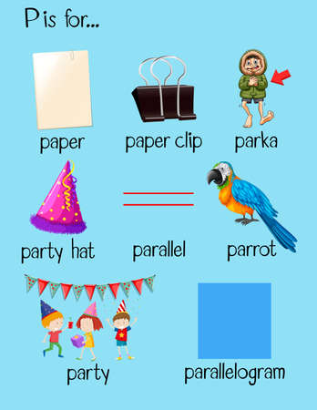 p illustration: Different words begin with letter P illustration Illustration