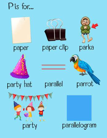 begin: Different words begin with letter P illustration Illustration