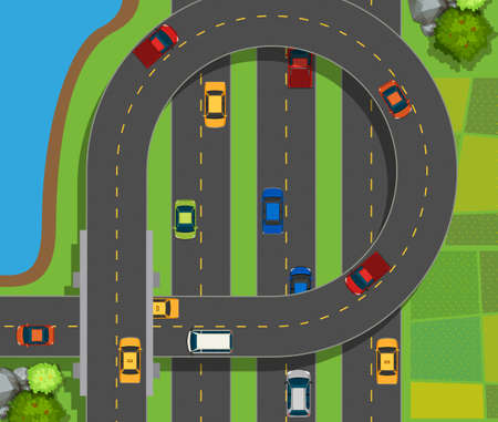 aerial: Aerial scene with cars on road illustration