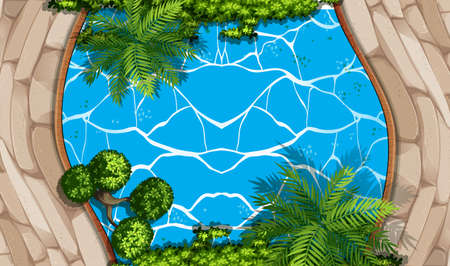 garden pond: Aerial scene with swimming pool and garden illustration