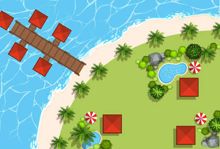 jetty: Aerial scene of huts and beach illustration Illustration