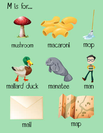 Different words begin with letter M illustration