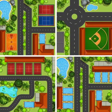 garden pond: Aerial scenes with roads and sport courts illustration