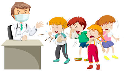 sick children: Doctor and many sick children illustration