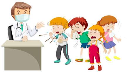 niños enfermos: Doctor y muchos niños enfermos ilustración