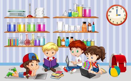 Bambini che lavorano su computer in aula illustrazione