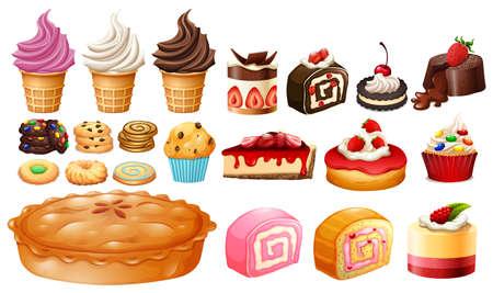 kinds: Set of different kinds of desserts illustration