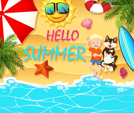 marine scene: Summer theme with boy and dog on beach illustration