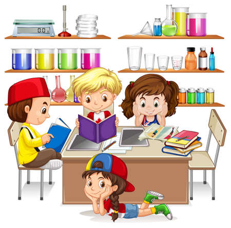 children studying: Children reading and studying in classroom illustration