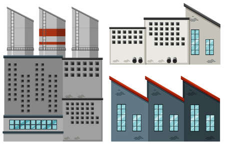 industrail: Factory buildings in different designs illustration Illustration