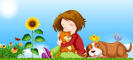 Girl and pets in the garden illustration Ilustracja